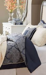blue and white comforter simple guest room design with wooden