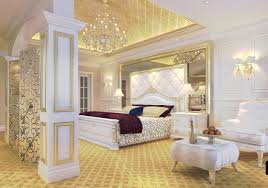 luxury bedroom golden ceiling and white furniture interior design