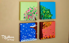 diy four season hand and fingerprint tree rhythms of play