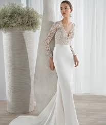 Wedding Dresses Liverpool Glorious Deep V Neck Button Up Back Long Sleeve Wedding Dress See