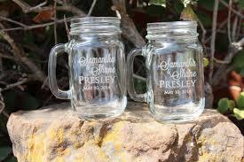 Wedding Gift Glasses Engagement Gift Glasses Etched Mason Jar Mugs Personalized