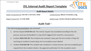 incident report template itil audit report template itil methodology
