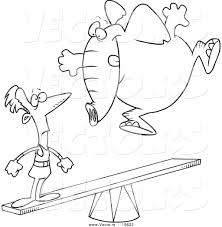 vector of a cartoon elephant jumping on a see saw to make a stunt