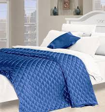 faux silk bedspread in blue
