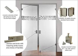full glass double doors with hinges locks latches handles and