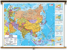 Universal Map Advanced Asia Political Classroom Map On Spring Roller