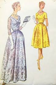 50s evening dress pattern 2 lengths lovely neckline styles mccalls