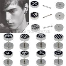 s mens earrings 2pcs hot jewelry stainless steel plain men s ear