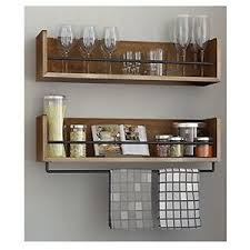 Wall Cabinet Spice Rack Wall Shelf Rustic Kitchen Wood Metal Rail Spice Rack Storage Home