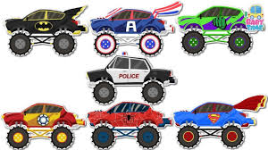 childrens monster truck videos fun learn monster trucks with superheros offroad challenge for