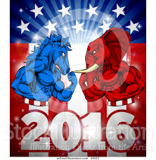 Horse With American Flag Vector Illustration Of A Political Aggressive Democratic Donkey Or