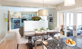 open concept family den kitchen dining room in contemporary home