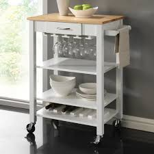 coaster furniture 910025 kitchen cart in white and natural with