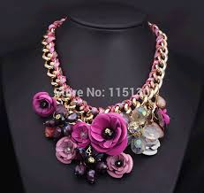 chunky gold necklace fashion images Statement chunky gold chain crystal rose flower pendant jpg