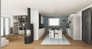 cuisine et salon dans la meme fein cuisine et salon ouverte sur carreau ciment conception r