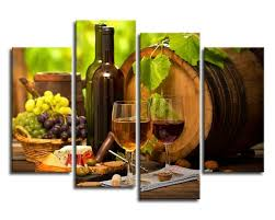 Grapes And Wine Home Decor Kitchen Wall Canvas Grapes Wines Fruits Painting Canvas