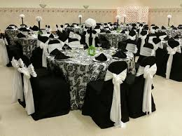 cheap wedding chair cover rentals black table covers with black on white damask overlays black chair