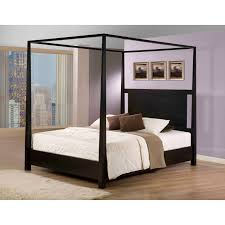 modern black polished wooden bed with crossed accent canopy using