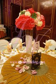 tall hotpink fresh flower centerpieces joyce wedding services