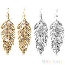 feather earrings s women s retro boho alloy feather rhinestone eardrops party hook