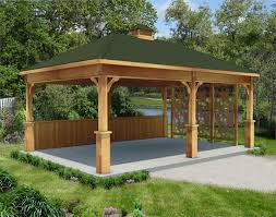 rough cut cedar single roof open rectangle gazebos with metal roof