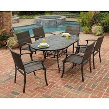 Best Patio Dining Set Home Styles Harbor 7 Slate Tile Top Rectangular Patio