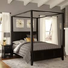 Teak Wood Bed Designs Modern Black Polished Wooden Bed With Crossed Accent Canopy Using