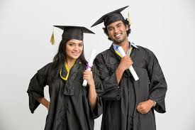 college cap and gown happy smiling indian college graduates wearing cap and gown