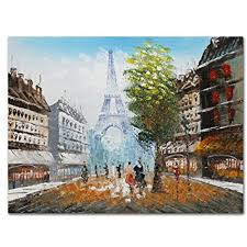 Eiffel Tower Home Decor Framed Paris Eiffel Tower Canvas Art Hand Oil Painting Picture