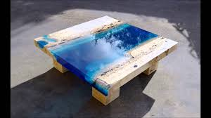 Glow In The Dark Table by Lagoon Tables That I Made By Merging Resin With Cut Travertine