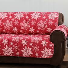 Red Loveseat Snowflake Red Quilted Furniture Protectors