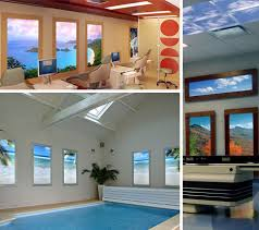 artificial windows for basement virtual light 12 faux natural windows fake sky ceilings