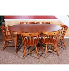 Dining Table And Six Chairs Early American Style Dining Table And Six Chairs Ebth