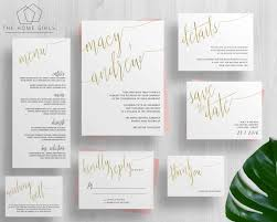 wedding invitations gold foil printable gold foil wedding invitation suite calligraphy copper
