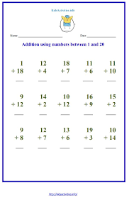 addition up to 20 worksheets kids activities