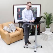 Sit Stand Desk Reviews by Seville Classics Airlift Maple Classic Laptop Mobile Desk Cart