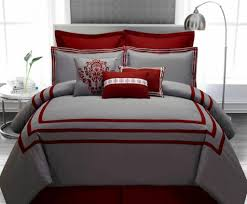 Grey And Red Bedroom Ideas - modern metal arched floor lamp with exclusive grey comforter and