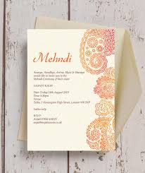 mehndi invitation orange paisley mehndi baraat card from 1 00 each