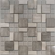 SampleSquare Pattern Wooden Gray Marble Stone Glass Mosaic Tile - Stone glass mosaic tile backsplash