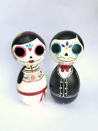 sugar skull cake topper day of the dead sugar skull large kokeshi doll wedding cake