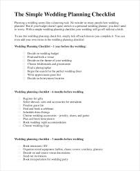 simple wedding planning simple wedding checklist 23 free word pdf documents