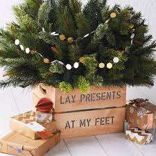 personalised square wooden christmas tree stand crate