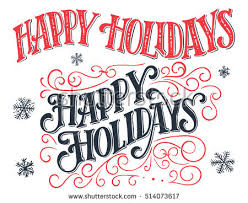 happy holidays vintage handlettering set handdrawn stock vector
