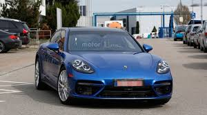 porsche panamera blue 2017 porsche panamera turbo spied throttle blips