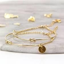 personalised gold or rose gold knot bangle bracelet by gaamaa