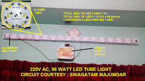 capacitor based led tubelight circuit using 1 watt leds