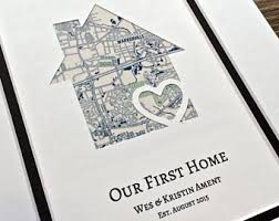 New House Gift Our First Home Personalized Home Map Matted Gift First