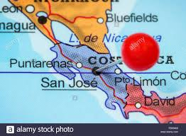 San Jose Costa Rica Map by Close Up Of A Red Pushpin In A Map Of San Jose Costa Rica Stock
