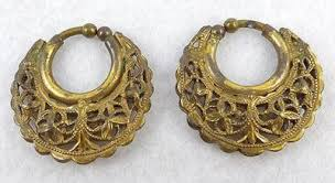 gold plated filigree hoop earrings garden collection