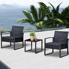 rattan coffee table outdoor outsunny 3pc rattan coffee table and 2 chairs set bistro set outdoor